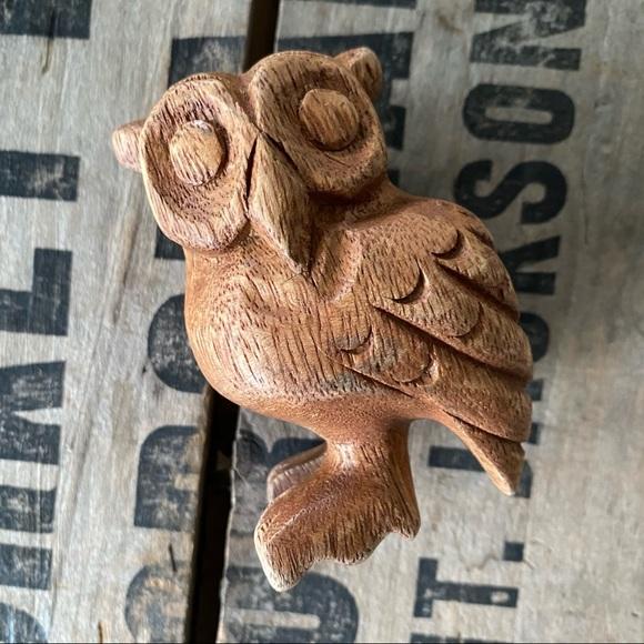 Vintage MCM Wood Carved Owl